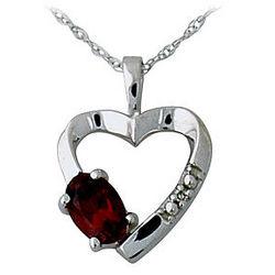 Garnet and Diamond Heart Pendant in 10kt White Gold