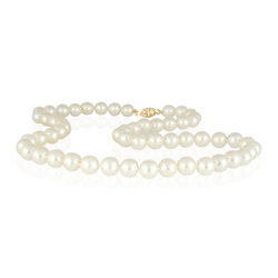 7-7.5MM Natural Freshwater White Pearl Necklace Strand