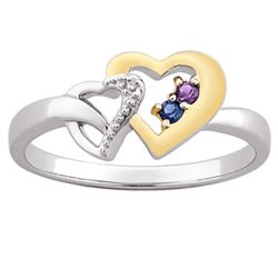 Sterling Silver Couples Birthstone Two-tone Heart Ring