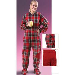 Adult Flannel Plaid Footed Pajamas