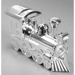 Engraved Silver Plated Train Bank
