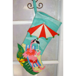 Pink Flamingo Quilted Christmas Stocking
