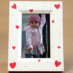 Hand Painted Hearts Picture Frame