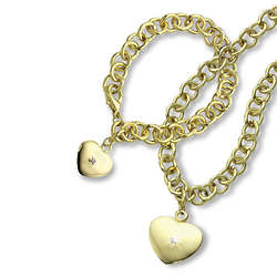 Heart Charm Link Necklace and Bracelet with Diamond Accents