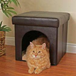Faux Leather Ottoman Cat Condo