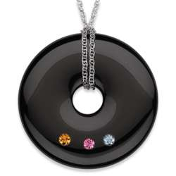 Sterling Silver Onyx and Family Birthstone Necklace