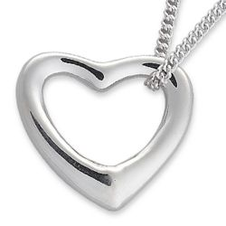 Platinum-Plated Floating Heart Necklace