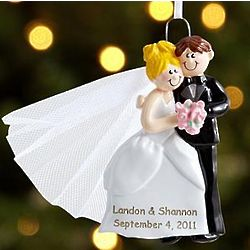 Personalized Bride and Groom Wedding Couple Ornament