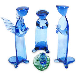 Christmas Peace in Blue Glass Nativity Scene Small Set