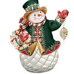 Faberge-Style Snowman with Swarovski Crystals