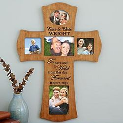 Personalized To Have and To Hold Wedding Photo Frame Cross