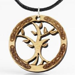 Celtic Tree of Life Wood Pendant Necklace