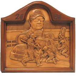 Jeff Gordon Carved Wood Nascar Plaque