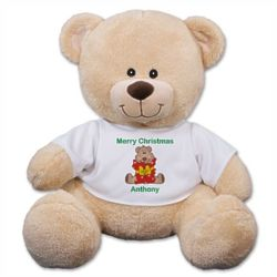 Teddy Bear in Personalized Merry Christmas T-Shirt