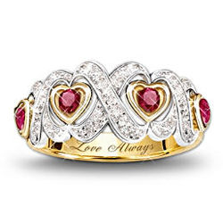 Engraved Hearts and Kisses Ruby and Diamond Ring