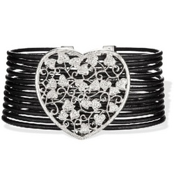 Multi Strand Leather Bracelet with an Oversized Diamond Heart