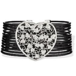 Multi Strand Leather Bracelet with an Oversized Diamond Heart