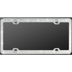 Chrome Triple White Diamond License Plate Frame