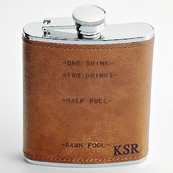 Leather Wrapped Drink Marks Flask