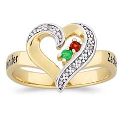 Gold Over Sterling Couple's Birthstone and Name Heart Ring