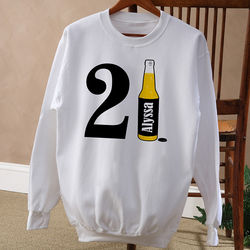 Personalized 21st Birthday Beer Birthday Sweatshirt