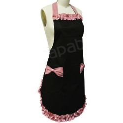 Black with Red Trim Pin-Up Apron