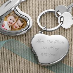 Heart Locket Two-Photo Engraved Key Ring