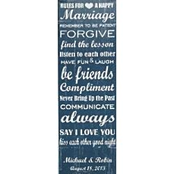 Personalized Rules to a Happy Marriage Canvas Wall Art