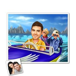 Speed Boat Custom Photo Caricature Print