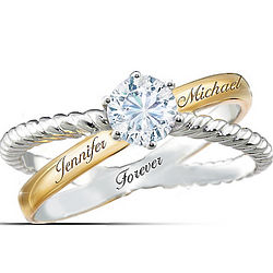 Everlasting Love Personalized White Topaz Ring