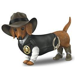 Sher-ruff S. Paws Cowboy Dachshund Figurine