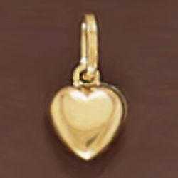 14K Gold 10mm Puffy Heart Pendant