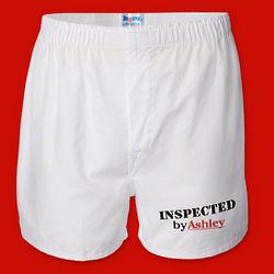 Valentine Men's White Personalized Boxer Shorts