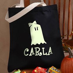 Personalized Girl Ghost Glow in the Dark Halloween Treat Bag