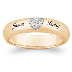 18K Gold Over Sterling Pave CZ Heart Name Band