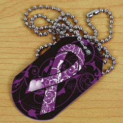 Alzheimer's Awareness Ribbon Dog Tag