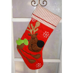 Reindeer Quilted Personalized Christmas Stocking