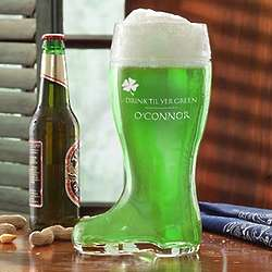 Personalized St. Patrick's Day Beer Boot Glass