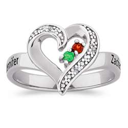 Sterling Silver Couple's Birthstone and Name Heart Ring