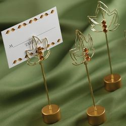 Leaf-Design Wedding Place Card Holders with Place Cards