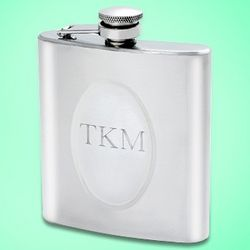 Classic Engraved Silver Circle Flask