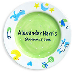 Boy's Personalized Charm Birth Plate