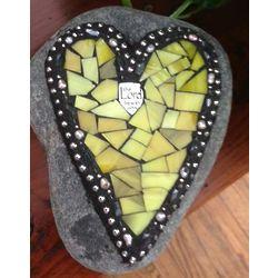 Small Yellow Mosaic Heart Garden Stone