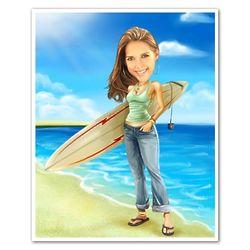 Surfer Chick Custom Photo Caricature Print
