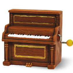 Miniature Vintage Upright Piano Hand-Cranked Musical Figurine