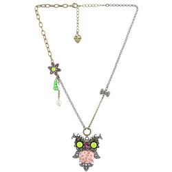 Vintage Critters Flower Owl Necklace