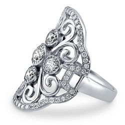 Art Deco Sterling Silver CZ Right Hand Cocktail Ring
