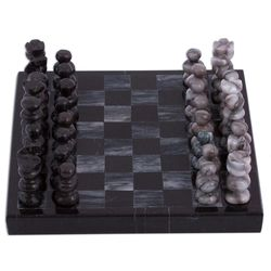 Challenge Marble Mini Chess Set in Black and Gray