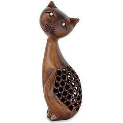 Feline Mischief Wood Statuette