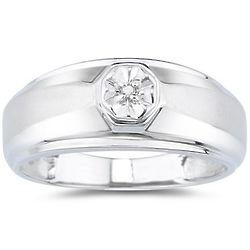 Men's Designer Diamond in 10K White Gold Band
